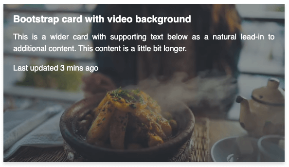 Bootstrap card with video background