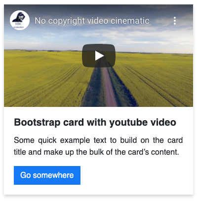 Bootstrap card with youtube video